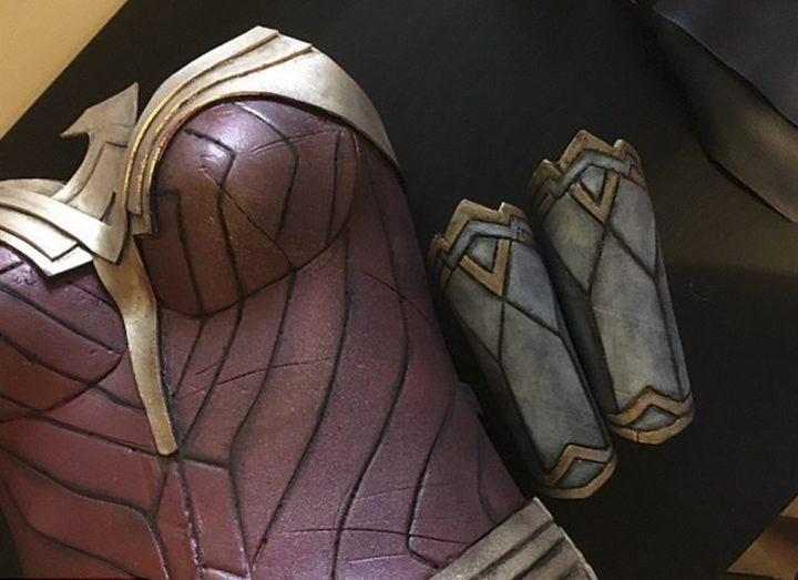 She used the remaining foam to create the gauntlets, leg armor, and headpiece.