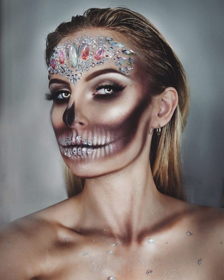 In addition to superheroes, the artist is great at creating realistic makeup designs like this crystal skull...