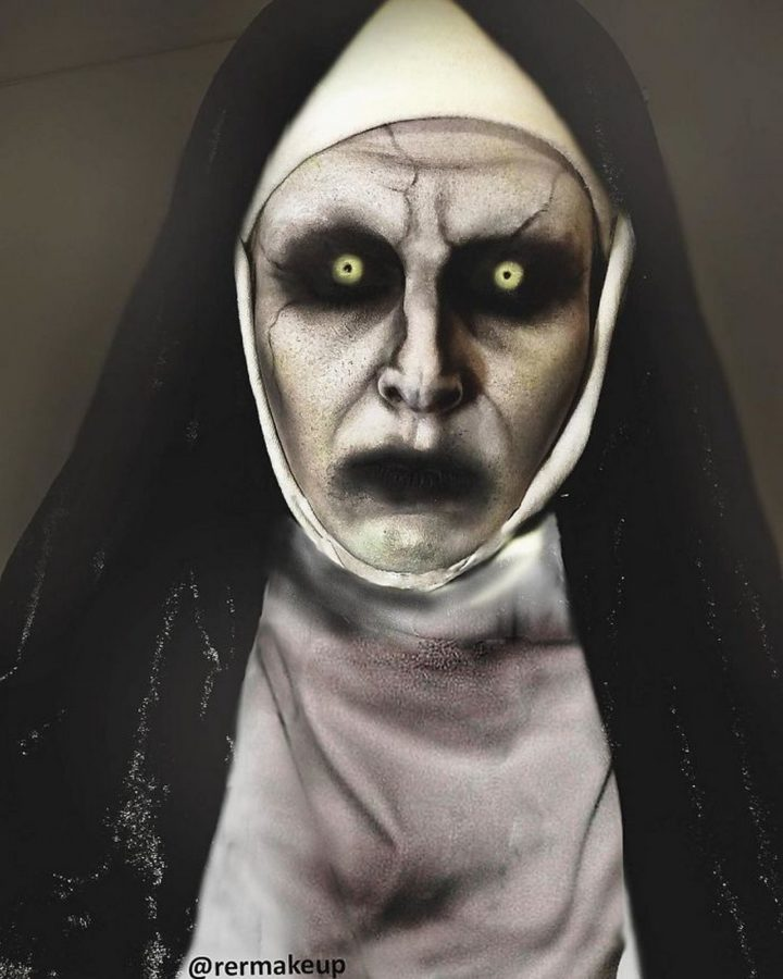 ...or this scary nun makeup design for Halloween.