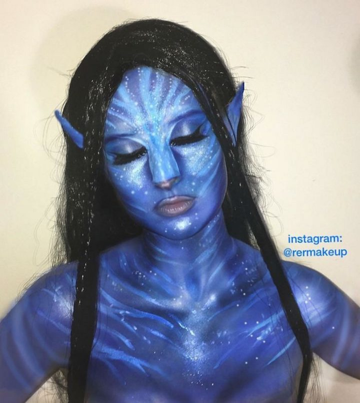 Impressive Avatar makeup.