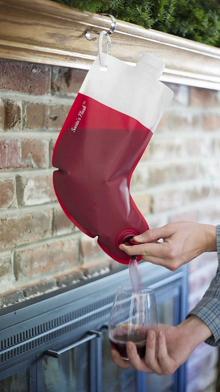 Each stocking holds up to 2.25 liters (76 ounces) or about 3 bottles of wine.
