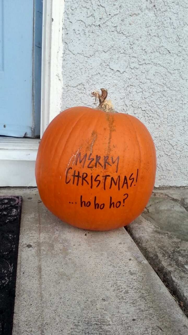27 Lazy Christmas Decoration Ideas - This pumpkin is a Christmas miracle.