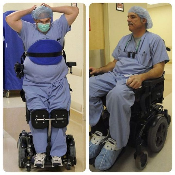 Ted Rammel, a paralyzed surgeon continues to work in the OR in a custom stand-up wheelchair. In 2010, a blood-filled cyst in his spine burst and left him paralyzed from the waist down.