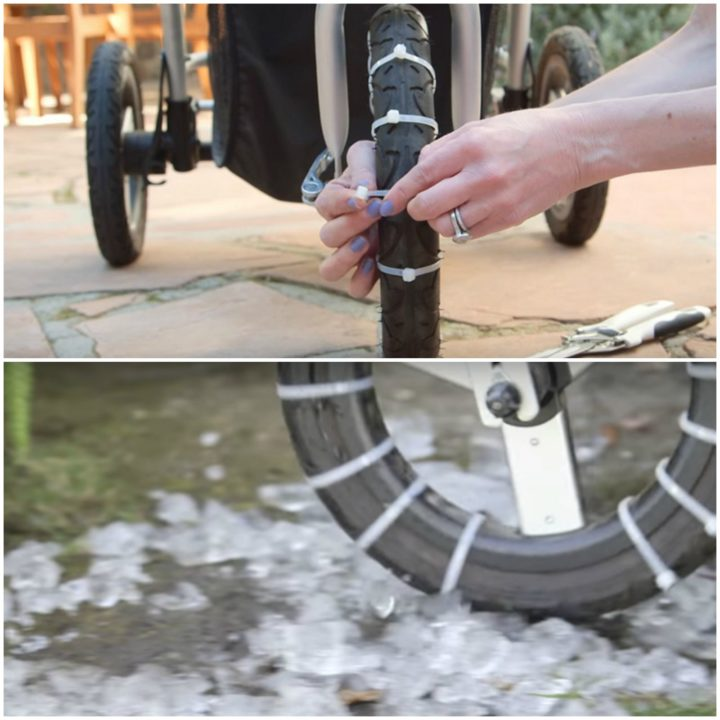 21 Best Mom Hacks - Loop zip ties around your stroller's wheels to provide better traction in the ice and snow.