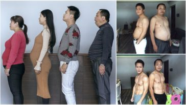 Before-And-After Photos of Chinese Family Working out for 6 Months.