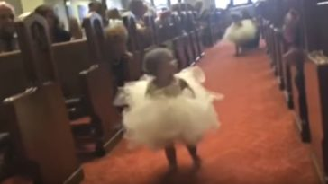 Flower Girl Runs to Daddy the Groom.