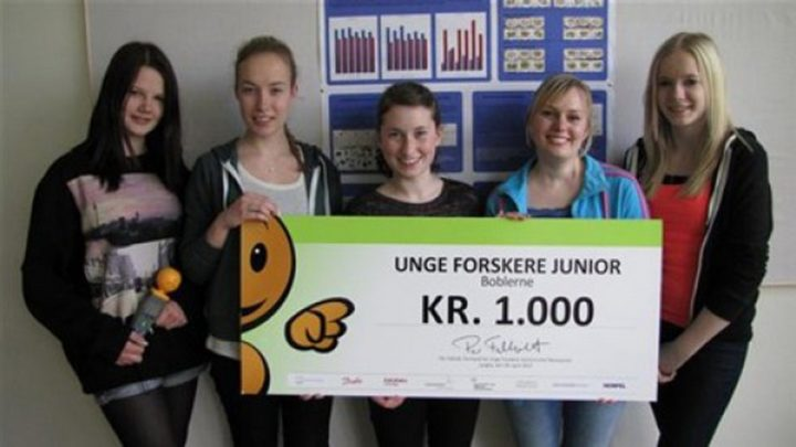 """The high school students received an award of 1.000 Danish Krones for their experimentat the regional """"Young Scientists"""" competition."""