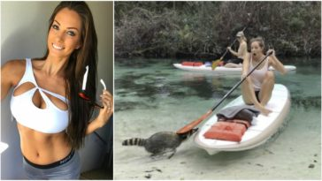 Raccoon Tries to Steal Fitness Model Janna Breslin's Lunch.