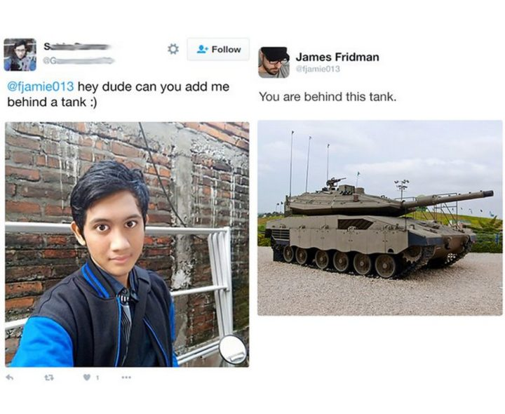"""Hey dude, can you add me behind a tank?"""