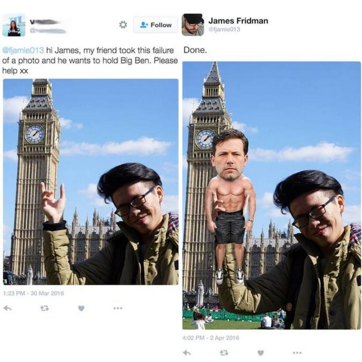 """Hi James, my friend took this failure of a photo and he wants to hold Big Ben."""