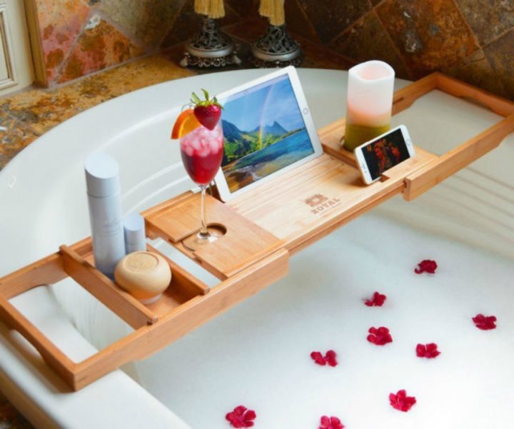 21 Unique Valentine's Day Gifts - Wooden bathtub caddy.