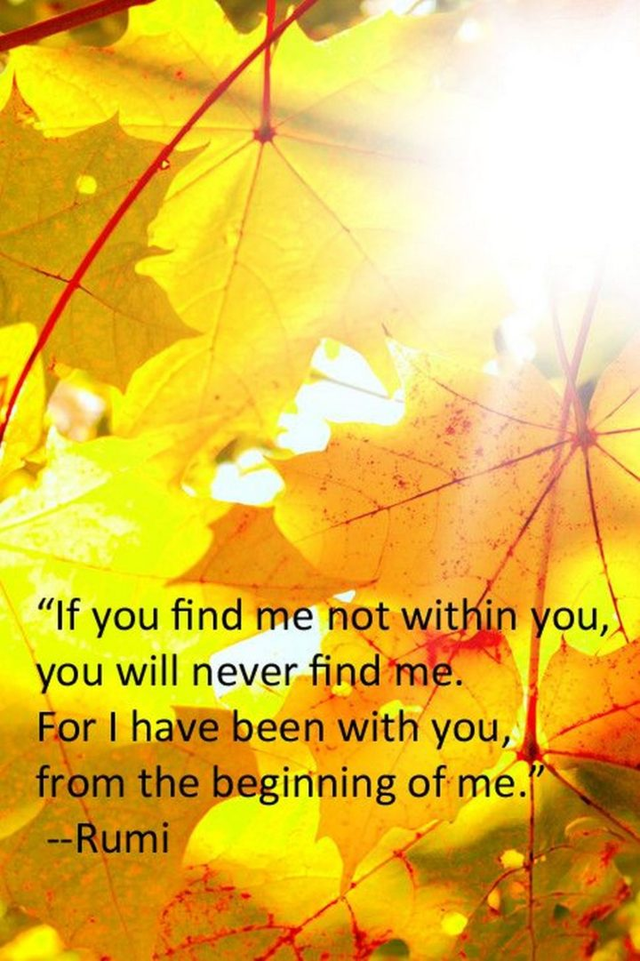 "27 Rumi Quotes - ""If you find me not within you, you will never find me. For I have been with you, from the beginning of me."" - Rumi"