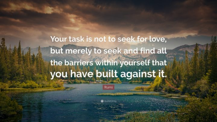"27 Rumi Quotes - ""Your task is not to seek for love, but merely to seek and find all the barriers within yourself that you have built against it."" - Rumi"