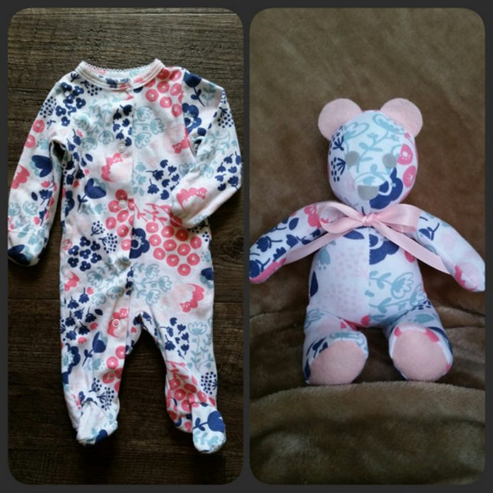 This cute memory bear by sewstinkinfabulous is 8 to 10 inches tall and couldn't be more adorable.