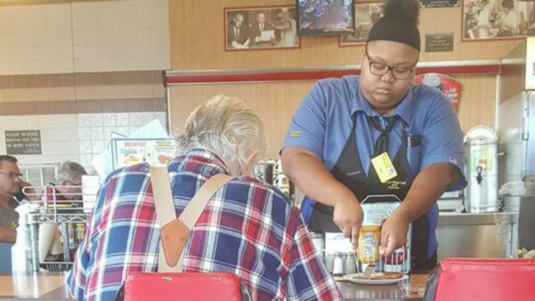 Waitress Helps Her Customer Cut His Ham and Gets College Scholarship.