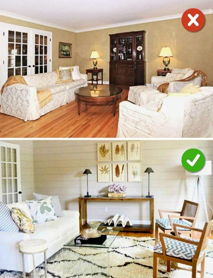 15 Living Room Design Mistakes - Using dated furniture covers.