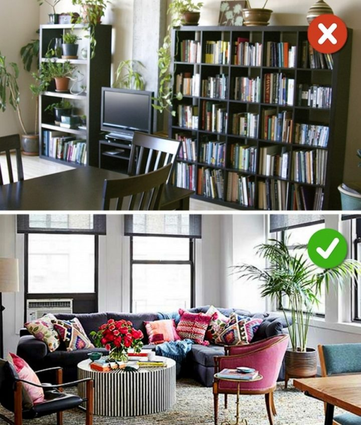 15 Living Room Design Mistakes - When it comes to potted plants, less is more.