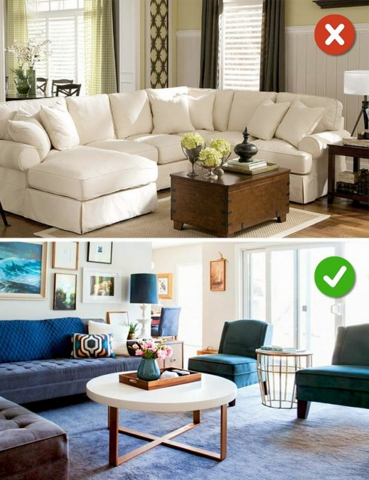 15 Living Room Design Mistakes - Large, bulky furniture.