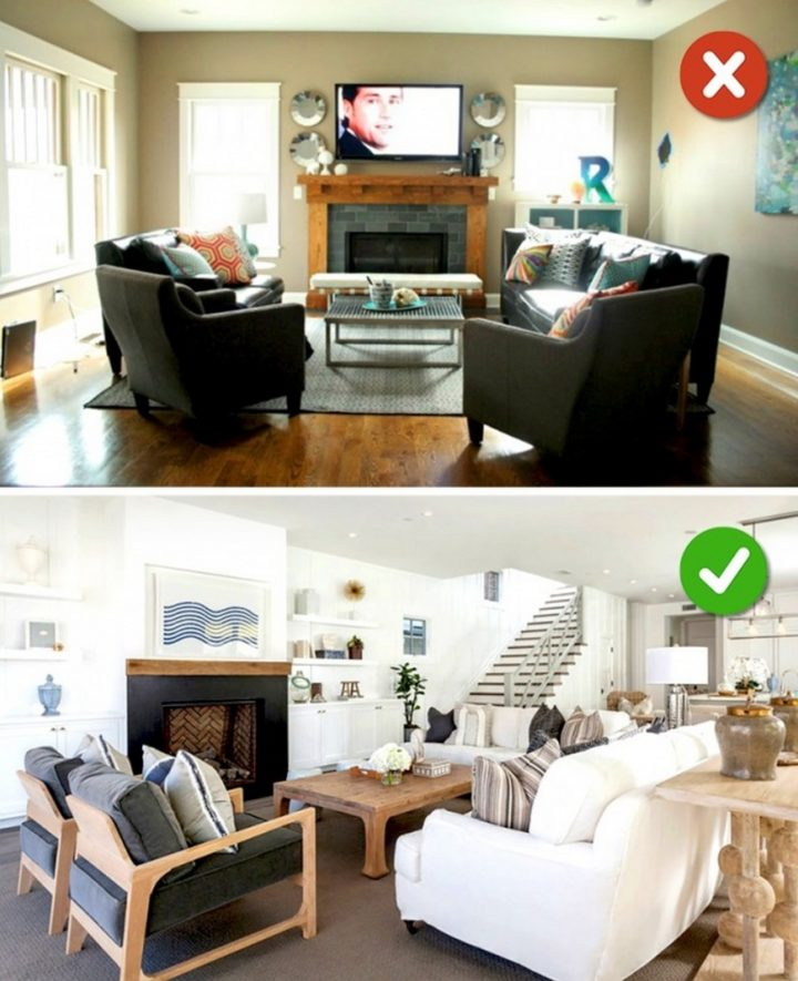 15 Living Room Design Mistakes - Low ceilings with dark furniture.
