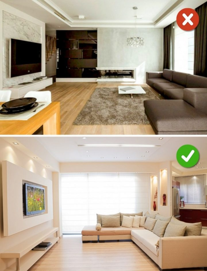 15 Living Room Design Mistakes - An incorrectly positioned TV.