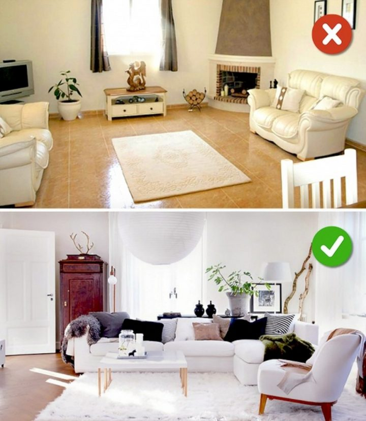 15 Living Room Design Mistakes - Lack of rugs or wrong size of rugs.