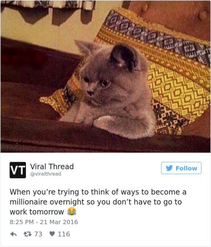 "27 Funny Work Memes - ""When you're trying to think of ways to become a millionaire overnight so you don't have to go to work tomorrow."""