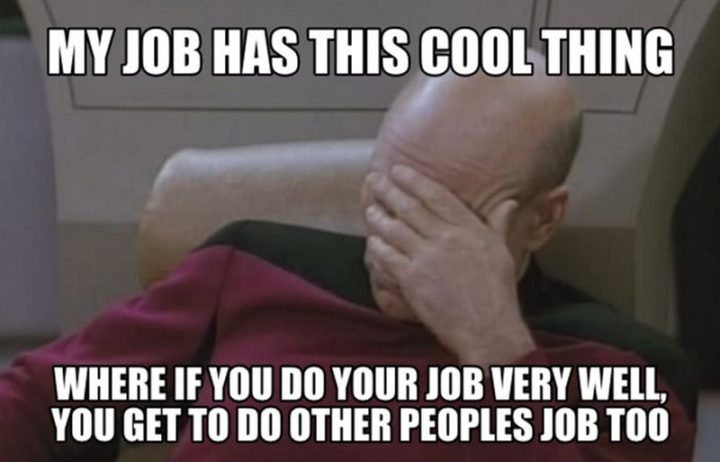 "27 Funny Work Memes - ""My job has this cool thing where if you do your job very well, you get to do other people's job too."""