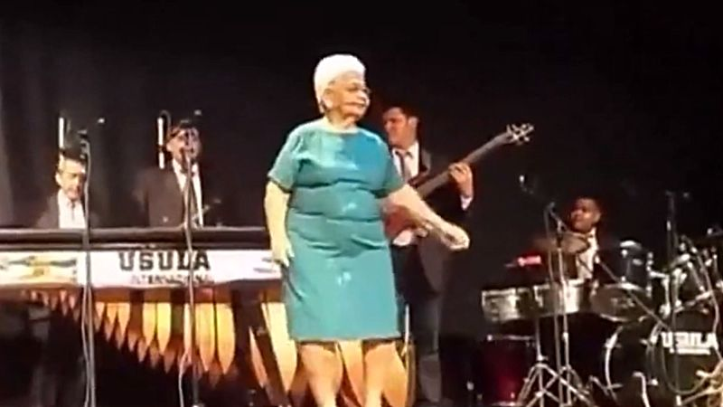 Once Grandma Gets up on Stage and Starts Dancing, She Just Can't Stop!