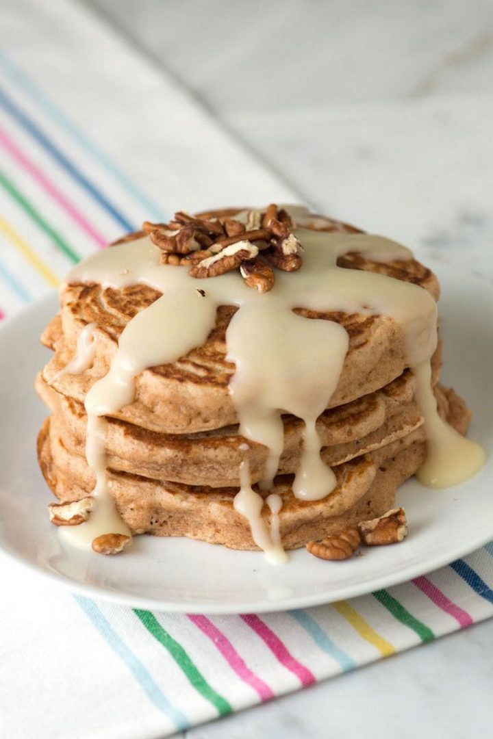 10 Best Pancake Recipes - Cinnamon Pancakes with a Cinnamon Roll Glaze.