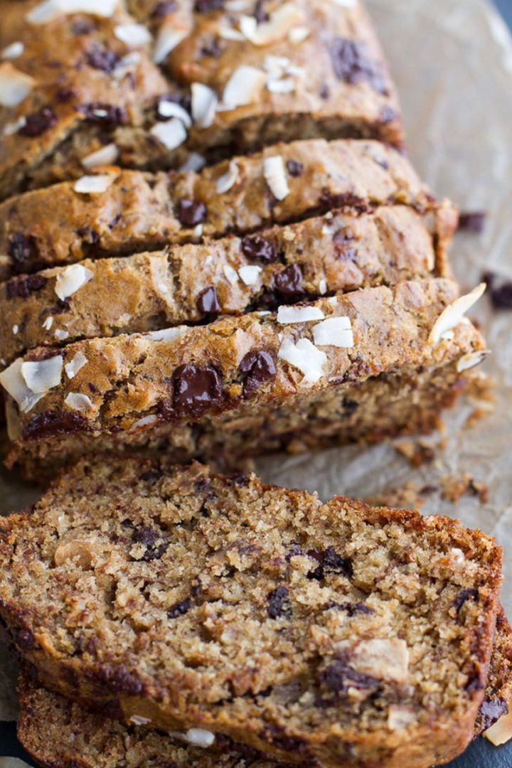 15 Easy Banana Bread Recipes - Toasted Coconut and Chocolate Chunk Roasted Banana Bread.