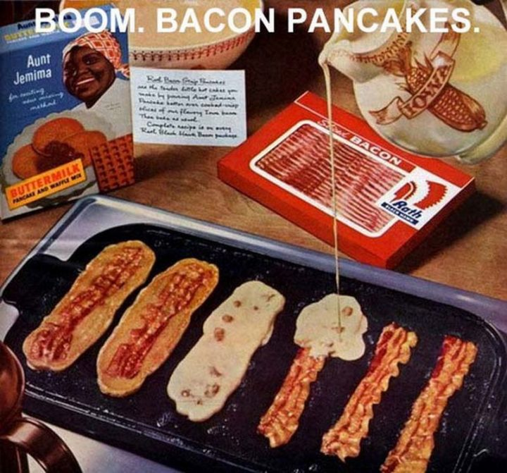 17 Kitchen Hacks - Combine two favorite breakfast items into one convenient package, bacon pancakes!