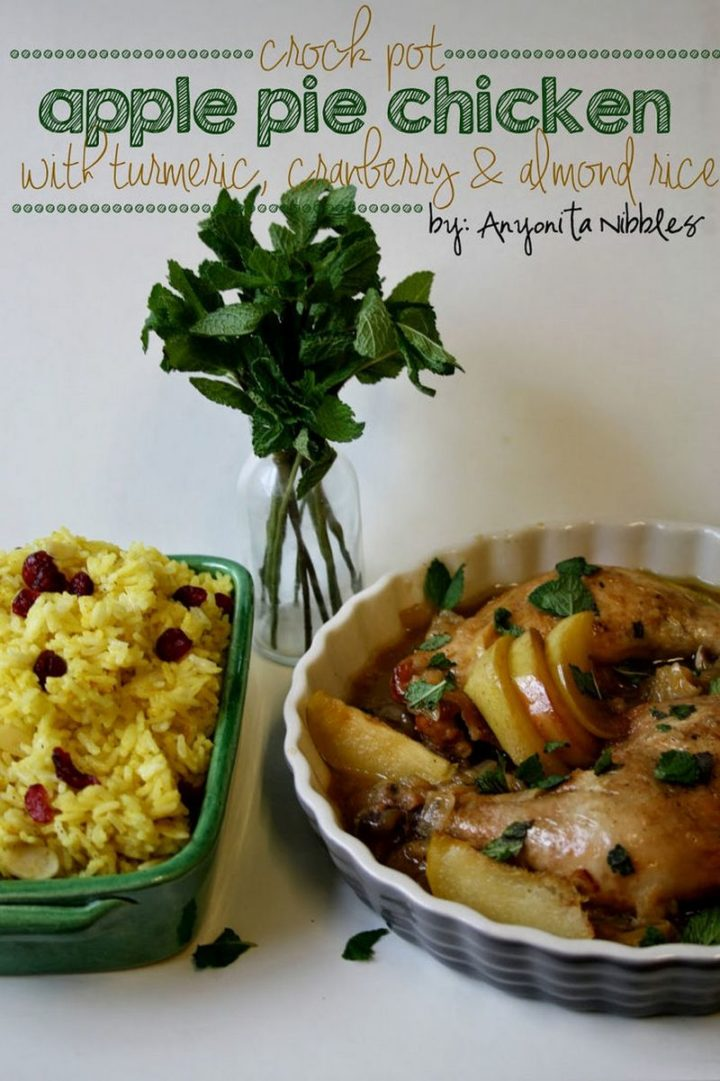 19 Chicken Recipes You Will Love - Crock Pot Apple Pie Chicken with Turmeric, Cranberry & Almond Rice.