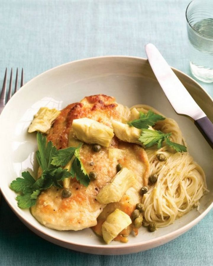 19 Chicken Recipes You Will Love - Chicken with Artichokes and Angel Hair.