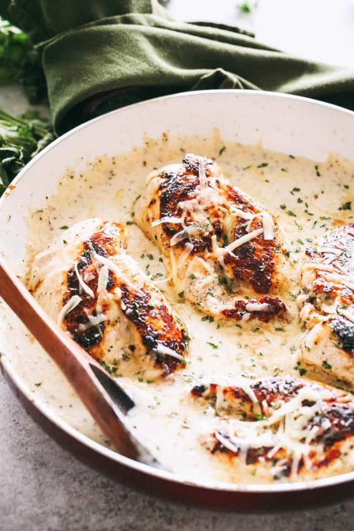 19 Chicken Recipes - Cream Garlic Herb Chicken.