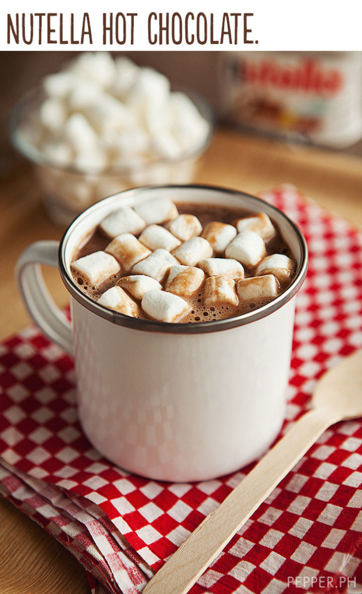"21 Cute Ways to Say ""I Love You"" - Nutella hot chocolate."