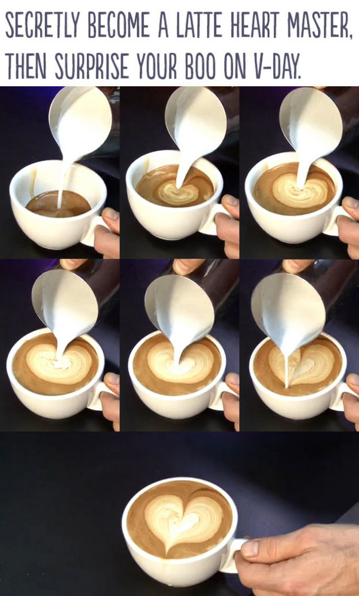 "21 Cute Ways to Say ""I Love You"" - Secretly become a latte heart master, then surprise your boo on Valentine's Day."