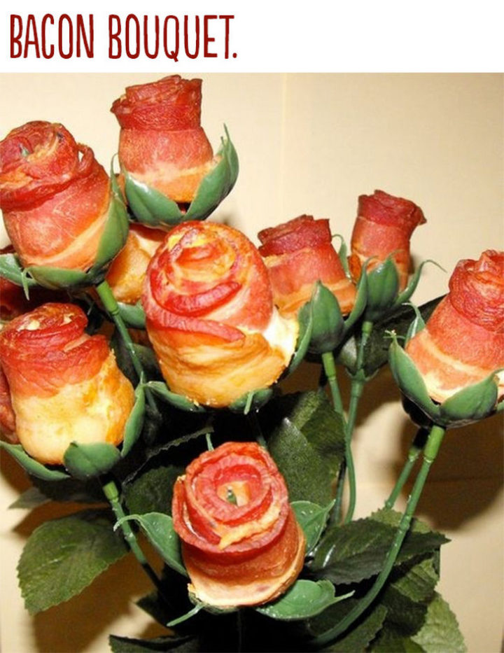 "21 Cute Ways to Say ""I Love You"" - Bacon bouquet."