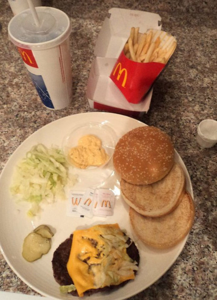 A Big Mac Meal deconstructed. They have to make 2 awesome looking plates with only these items.