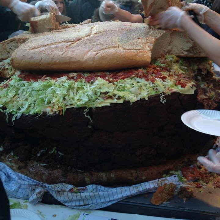 Here is a closeup. There you have it, the world's largest burger!