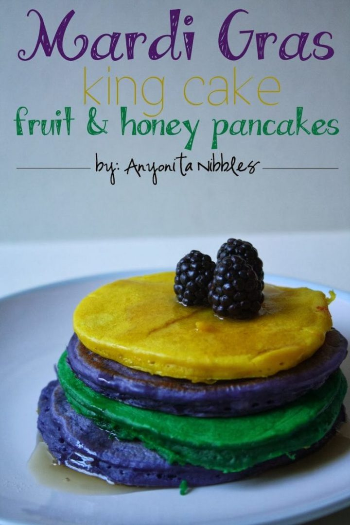 15 Luscious Pancake Recipes - Mardi Gras King Cake Fruit & Honey Pancakes.