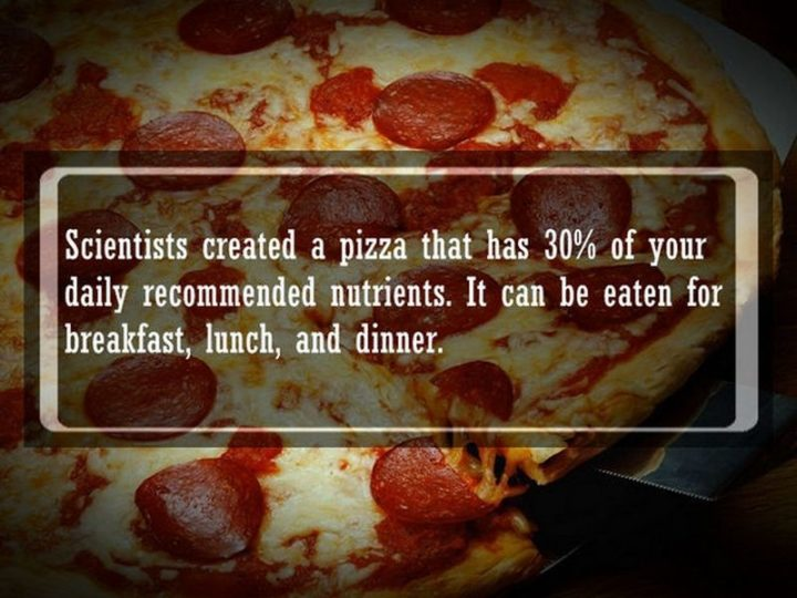 "19 Food Facts - ""Scientists created a pizza that has 30% of your daily recommended nutrients. It can be eaten for breakfast, lunch, and dinner."""