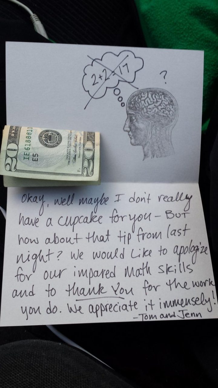 Couple give $20 tip to pizza delivery driver.