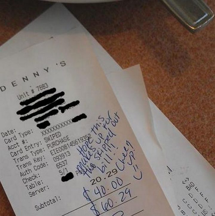 High school students skipped out on their bill and caused a lot of upset for their server. Thankfully, a couple saw what happened and covered the cost of their bill with a $40 tip.