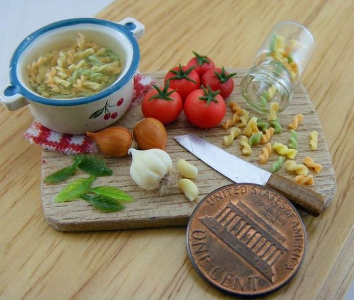 Shay Aaron Miniatures - Tiny Food (preparing pasta dish) That is Collectible and Wearable!