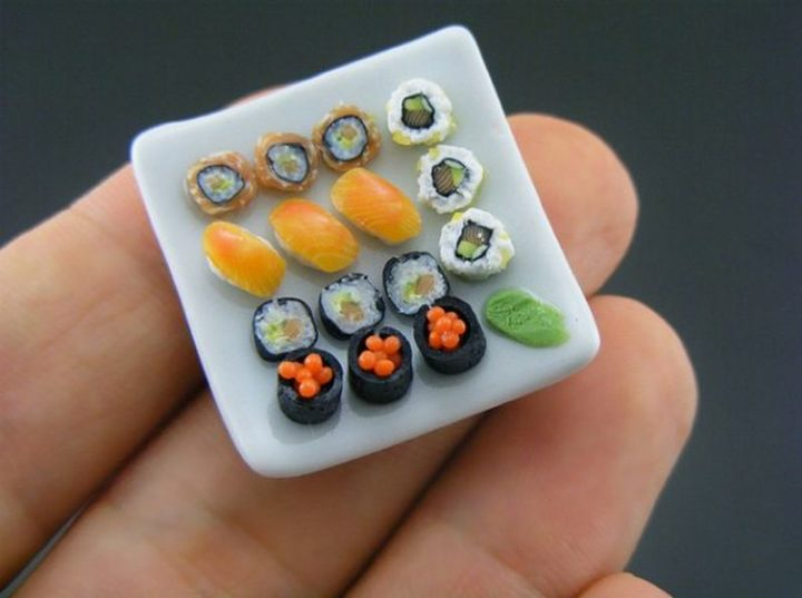 Shay Aaron Miniatures - Tiny Food (sushi combo) That is Collectible and Wearable!