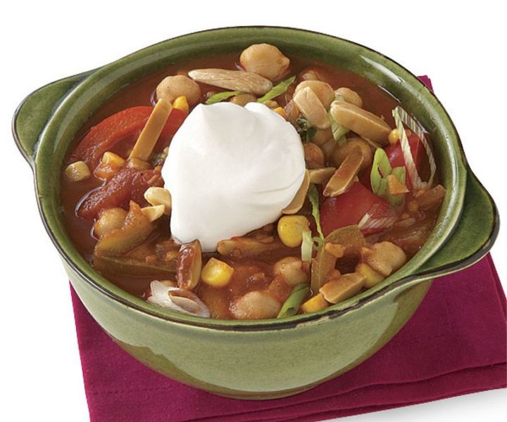 23 Best Chili Recipes - Vegetable-Chickpea Chili with Fried Almonds.