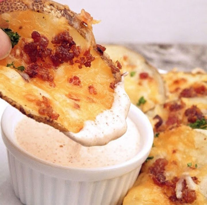 29 Best Potato Recipes - Cheesy Bacon Oven Chips with Chipotle Ranch Sauce.