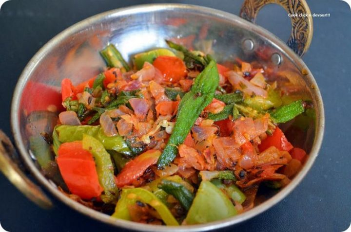 49 Indian Side Dishes - Kadai Bhendi/Bhindi.