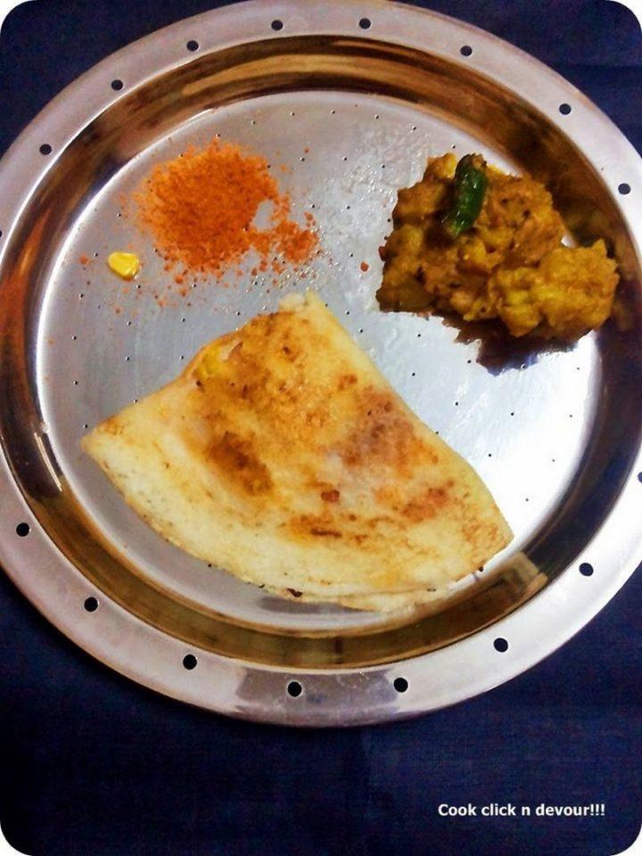 49 Indian Side Dishes - Sweet Corn Masala Dosai.