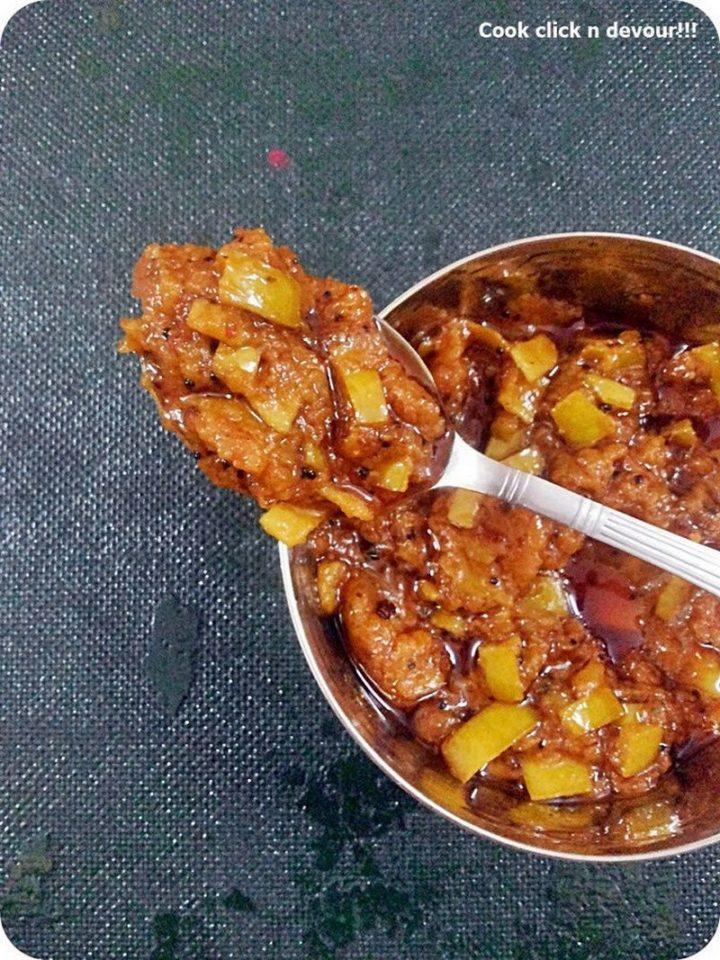 49 Indian Side Dishes - Vendhaya Mangai (Mango-Fenugreek Pickle).